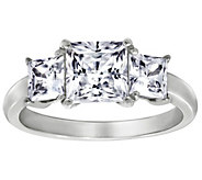 Diamonique 2.50 cttw 3 Stone Princess Cut Ring, Platinum Clad - J111658