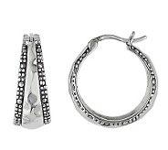 Suspicion Sterling Marcasite Hammered Hoop Earrings - J112458