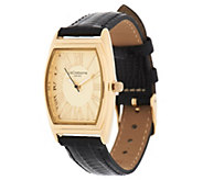 Liz Claiborne New York Textured Strap Goldtone Watch - J282258