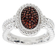 Pave Color Oval Diamond Ring, Sterling, 1/4 cttw, by Affinity - J291358