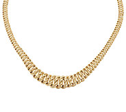 VicenzaGold 18 Bold Graduated Woven Curb Necklace 14K Gold, 26.0g - J295158