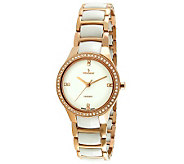 Peugeot Womens Swiss Ceramic Rose Goldtone Bezel Link Watch - J308658
