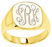 Personalized Satin Cushion Signet Ring, 14K Gold - J310958