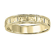 4.5mm Mens Square Pattern Wedding Band, 14K Yellow Gold - J315758
