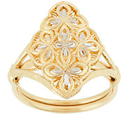 14K Gold Two-Tone Diamond Cut Marquise & Lace Design Ring - J319758