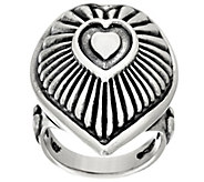 Sterling Silver Heart or Cross Bold Ring by American West - J320258
