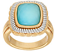 14K Gold Two Tone Sleeping Beauty Turquoise Doublet Ring - J322158