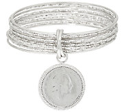 Bronze 200 Lire Coin Round Multi-Bangle Bracelet by Bronzo Italia - J322758