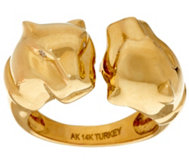 14K Gold Polished Double Panther Head Ring