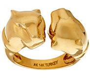 14K Gold Polished Double Panther Head Ring - J325558