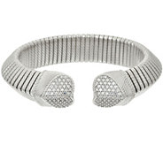 As Is Judith Ripka Sterling Verona 6/10 ct tw Diamonique Tubogas Cuff - J328358