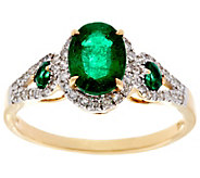 Colombian Emerald & Pave Diamond 3-Stone Design Ring, 14K, 1.20 cttw - J330258