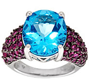 As Is Ostro Swiss Blue Topaz 9.50cttw Thai Ruby Sterling Ring - J331358
