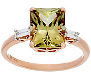 Radiant Cut Csarite & Baguette Diamond Ring 14K, 3.20 ct - J331758