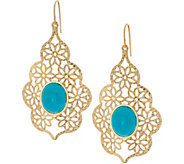 Vicenza Gold Turquoise Teardrop Earrings 14K Gold - J334358