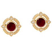 Judith Ripka 14K Gold Ruby, Emerald or Sapphire Stud Earrings - J335358