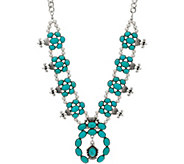 Simulated Turquoise Statement Necklace - J347658