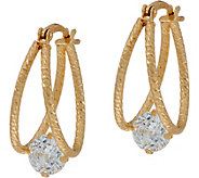 Diamonique 100-Facet Split Hoop Earrings, Sterling - J347758