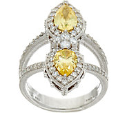 Judith Ripka Sterling Silver 1.75 cttw Canary Pear Diamonique Ring - J348058