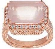 Judith Ripka Rose Clad 5.50 cttw. Rose Quartz & Diamonique Ring - J348658