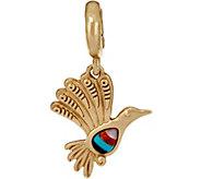 Multi Gemstone Brass Bird Charm by American West - J349158