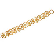 Italian Gold 7-1/4 Woven Double Row Bracelet 14K Gold, 10.8g - J349558