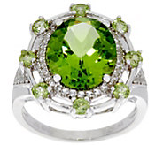 Oval Peridot Bold Sterling Silver Ring 5.50 cttw - J350058