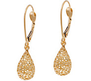 14K Gold Textured Teardrop Dangle Earrings - J350558
