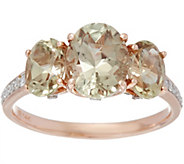As Is 3-Stone Csarite and Diamond Ring, 14K Gold 3.00 cttw - J353058