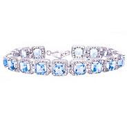 Sterling 15.00 cttw Swiss Blue Topaz Square Tennis Bracelet - J376558
