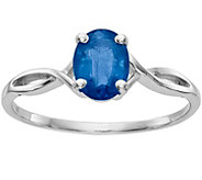 14K White Gold Oval Solataire Gemstone Ring - J376958