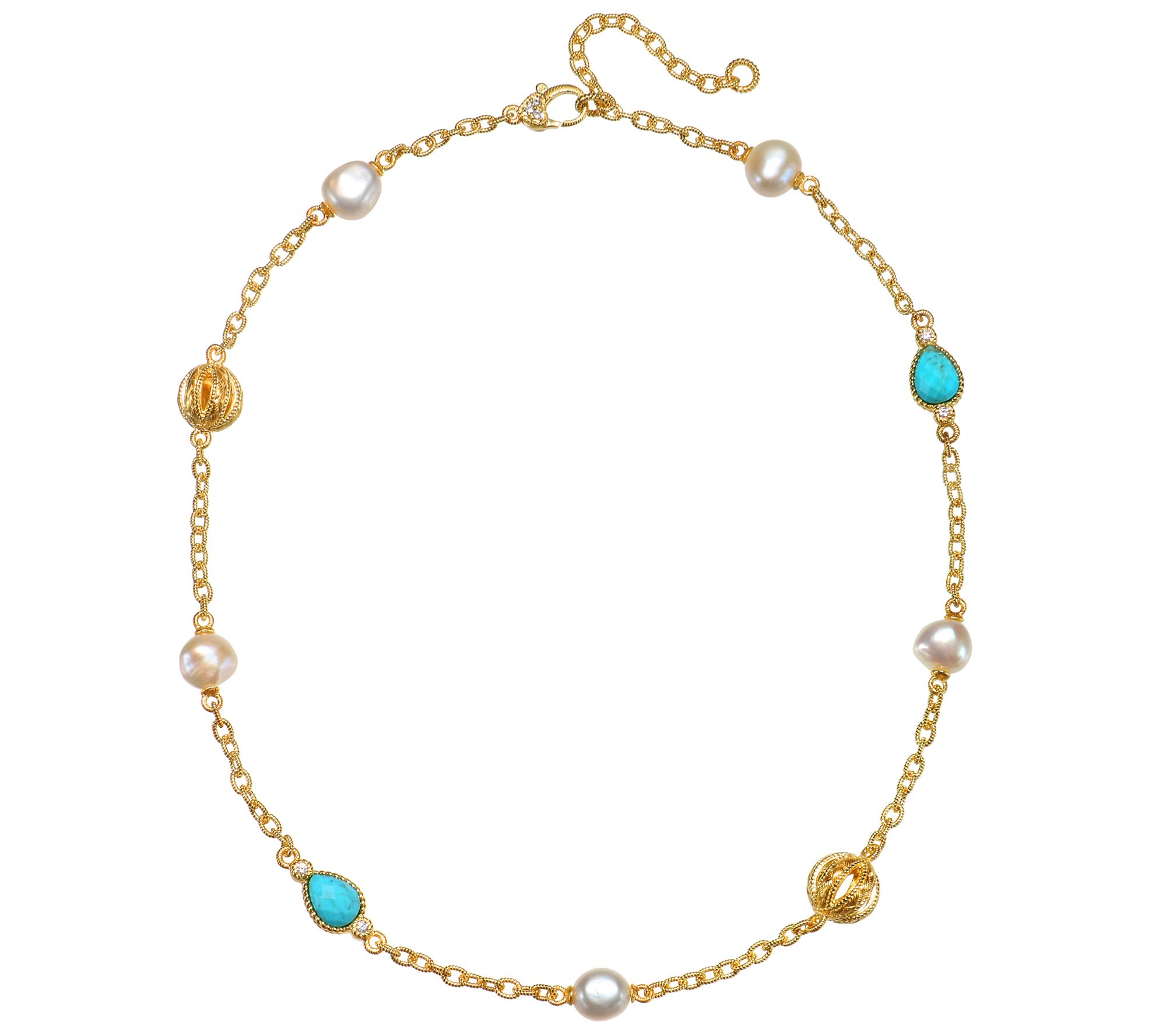judith ripka sterling clad turquoise pearl dmq necklace qvc