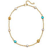 Judith Ripka Sterling & Clad Turquoise, Pearl &DMQ Necklace - J377158