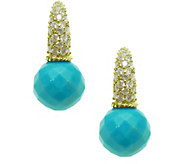 Judith Ripka 14K Clad Turquoise & Diamonique Earrings - J378258