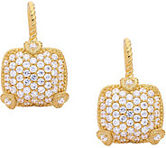Judith Ripka 14K Clad Pave Diamonique Earrings - J380258