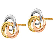 14K Gold Tri-Color Interlocking Circle Earrings - J382158