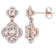 14K Gold 2.65 cttw Morganite Diamond Halo Dangle Earrings - J382458