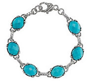 Judith Ripka Sterling Monaco Gemstone and Diamonique Avg. Bracelet - J269259