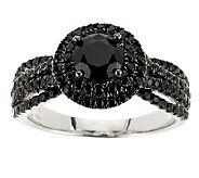 2.20 ct tw Black Spinel Solitaire Sterling Ring - J280259