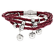 Stainless Steel Polished Bead Multi-Strand Braided Leather Bracelet - J289759