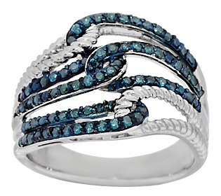 Product image of Blue & Rope Texture Diamond Ring, Sterling 1/2 cttw by Affinity
