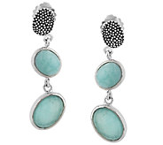 Michael Dawkins Sterling Silver Amazonite Doublet Dangle Earrings - J293459