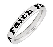 Simply Stacks Sterling Polished & Epoxy EnamelFaith Ring - J299159