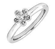 Simply Stacks Sterling & Diamond Flower Ring - J299259