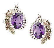 Black Hills 1.70 ct tw Amethyst Button Earrings , Sterling/12K - J301459