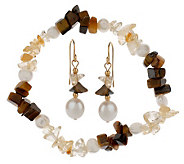 Lee Sands Tigers Eye & Citrine Earring & Bracelet Set - J302759