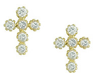 Jewelry of Faith Diamonique Cross Stud Earrings, 14K Gold - J303459