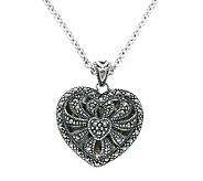 Suspicion Sterling Marcasite Reflective Heart Pendant w/Chain - J304359