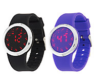 Set of 2 Silicone Watches with Hidden LED Display - J317559