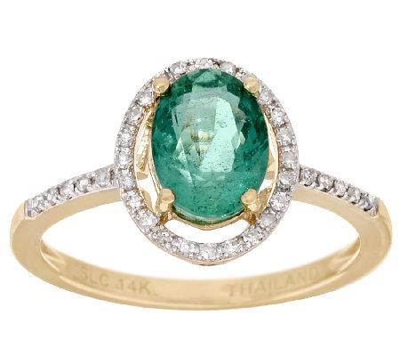 1 00 ct zambian emerald ring 14k gold qvc